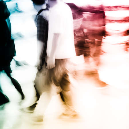 china people: city shopping people crowd at marketplace shoe shop abstract background Stock Photo