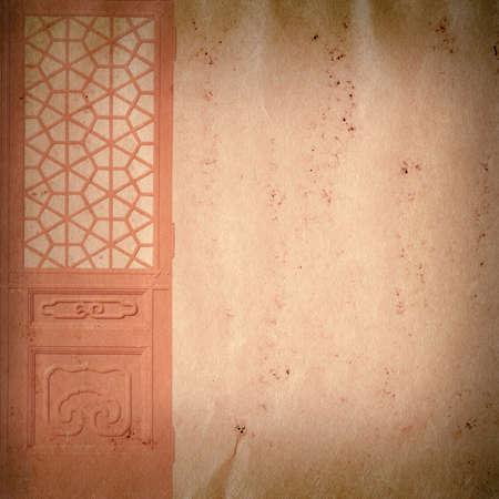 wood door on grunge paper texture background photo