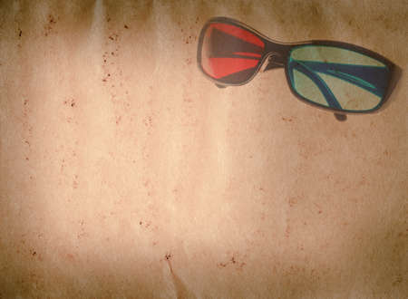 3D glasses old grunge paper texture background Stock Photo - 13463539