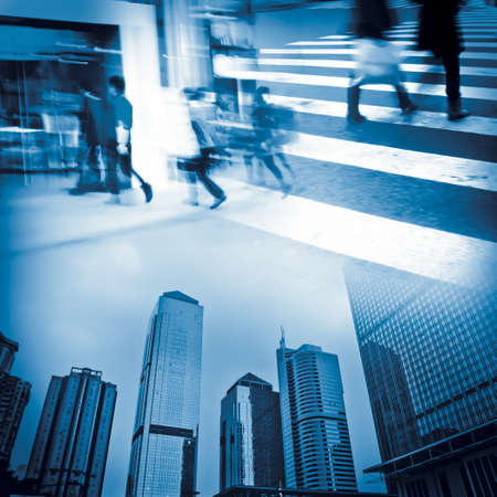 urban modern city business life, people blur abstract concept photo
