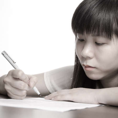 endorse: Asian business women endorse on paper contract
