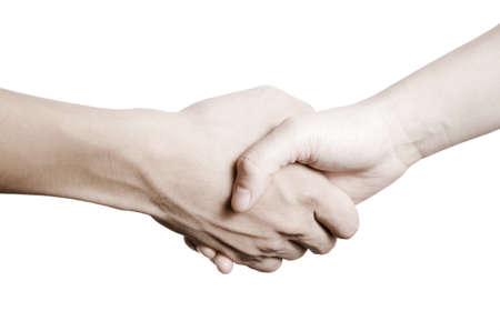 Business-Mann und Frau Händeschütteln, isoliert auf weiß Standard-Bild - 14304354