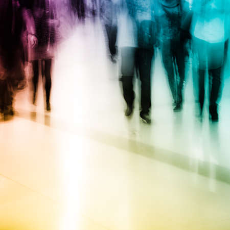 unrecognizable people: city shopping people crowd at marketplace abstract background