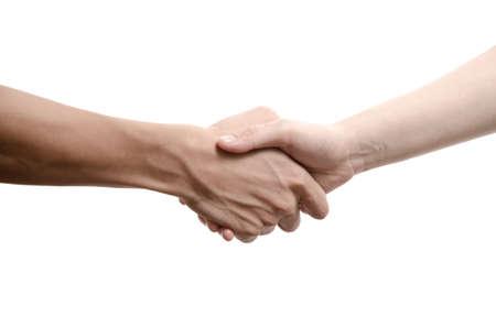 pacto: hombre de negocios y una mujer d�ndose la mano, aislados en blanco Foto de archivo