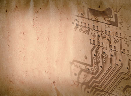 circuit board of laptop grunge paper texture background photo