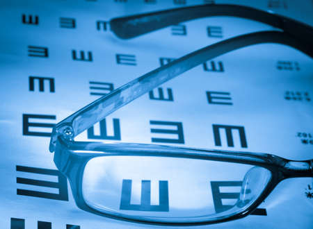 eye chart and glasses background photo