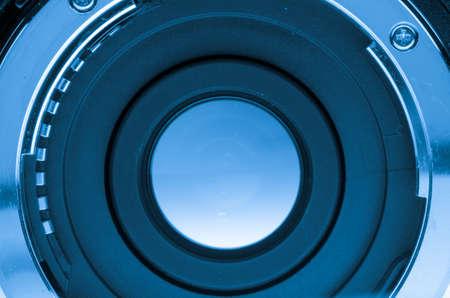 camera shutter: range extender teleconverter lens isolated on white