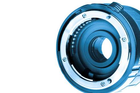 optical equipment: range extender teleconverter lens isolated on white