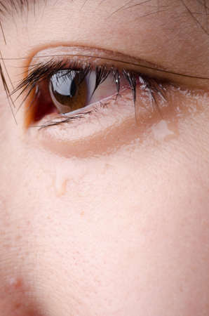 hopelessness: eye with tear of asian woman Stock Photo