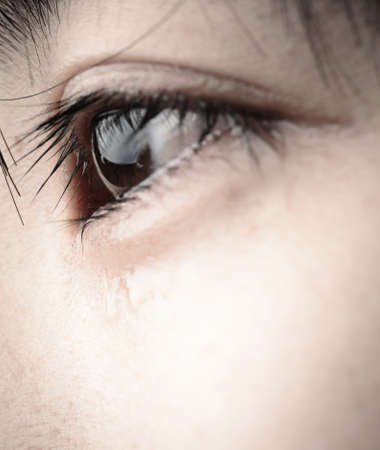 sad eyes: eye with tear of asian woman Stock Photo