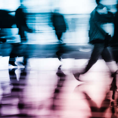 large group of business people: city business people abstract background blur motion
