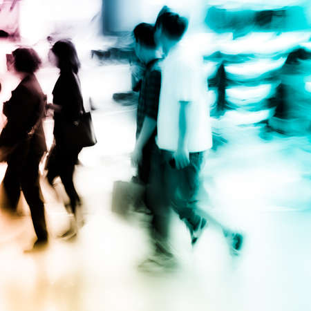 city shopping people crowd at marketplace shoe shop abstract background photo