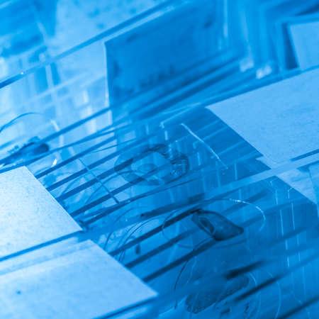 microscope slide: science medical glass microscope slide with sample