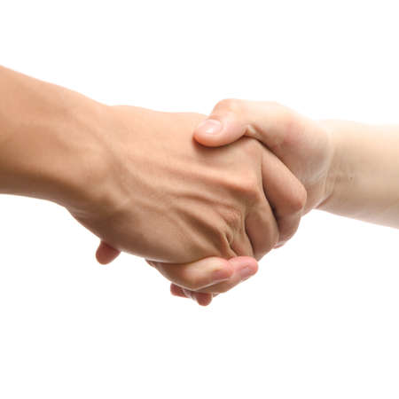 business man and woman shaking hands, isolated on white Stock Photo