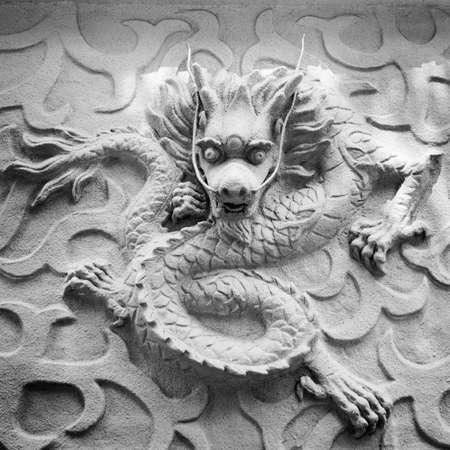 Chinese stone dragon statue art background Stock Photo - 17408553