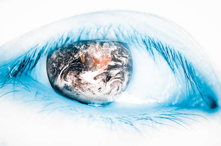 earth insect eye, world concept (The earth image is furnished by NASA) photo