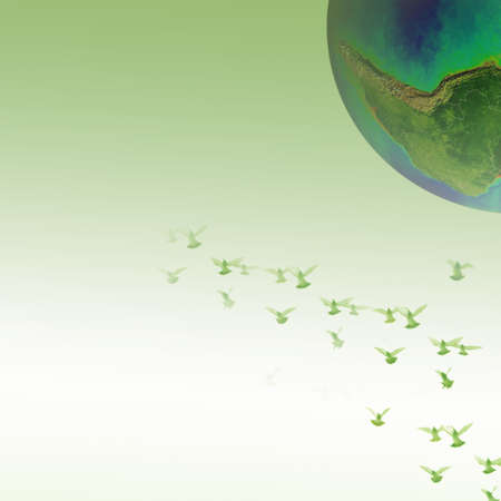 furnished: Doves over the world peace and freedom concept background (The earth image is furnished by NASA) Stock Photo