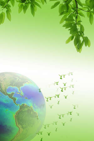 holy leaves: Doves over the world peace and freedom concept background (The earth image is furnished by NASA) Stock Photo