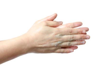 Medizinischen wash Handbewegung Serie, Reinigung mit bubble isolierten Standard-Bild - 17407045
