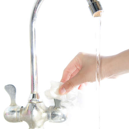 turn off: medical wash hand gesture series, turn off the tap Stock Photo