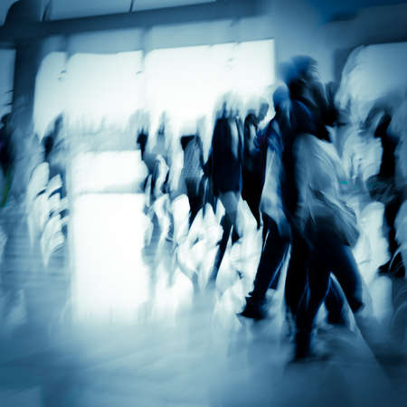 ghost woman: city business people abstract background blur motion