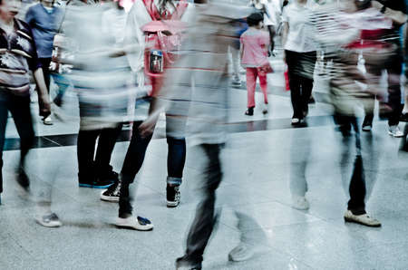 blur subway: city business people abstract blur motion,  passenger walk at subway station