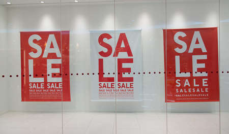 Sale sign text on wall in marketplace Stock Photo - 18283912
