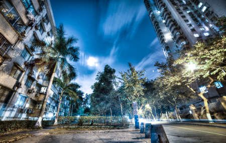 residential area at quiet night,HDR photo