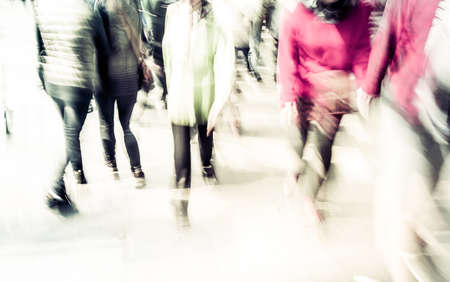 human photography: Commuters crossing at rush hour, blur motion
