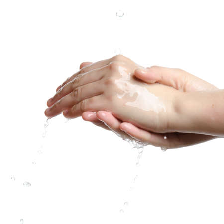 hand wash: medical wash hand gesture series, cleaning with bubble isolated