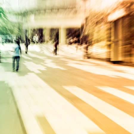 business people on urban city street blur photo
