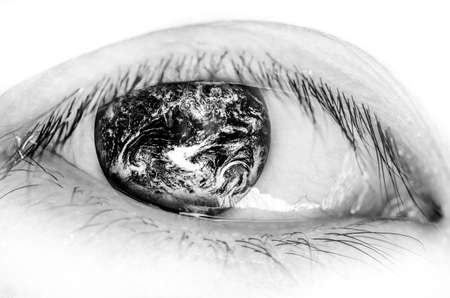 eye shade: earth insect eye, world concept (The earth image is furnished by NASA), black and white