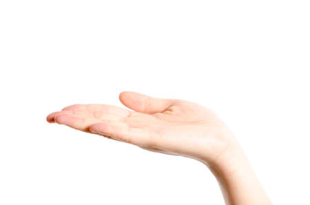 limosna: palma de la mano aisladas sobre fondo blanco