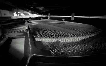 Piano strings and hammer detail photo