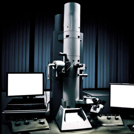 science modern laboratory equipment electron microscope photo