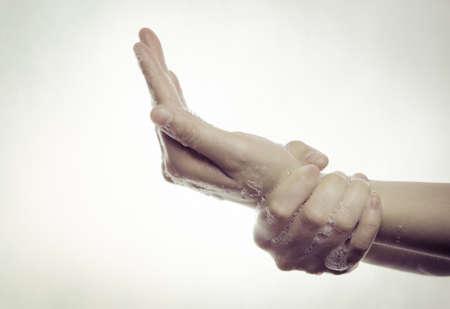 manos limpias: lavado de manos médica, limpieza con gesto serie de burbujas