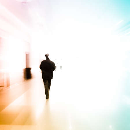 city business people urban scene abstract background, blur motion photo