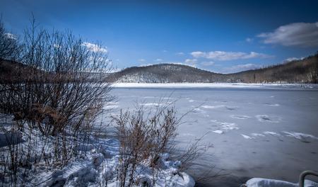 Beautiful winter shot of a frozen lake.