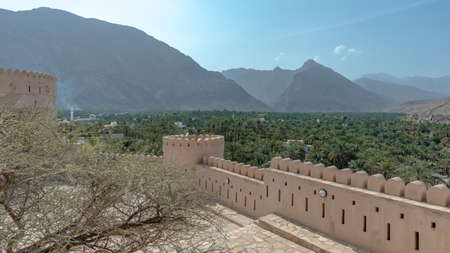 View on the Rustaq Oasis from one of the upper terraces of Rustaq Fort, taken on a sunny and warm October afternoon, Oman