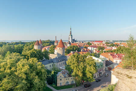 View on Saint Olaf Church from a viewpoint located in the Toompea district of the Old Town at the end of a summer afternoon, Tallinn, Estonia