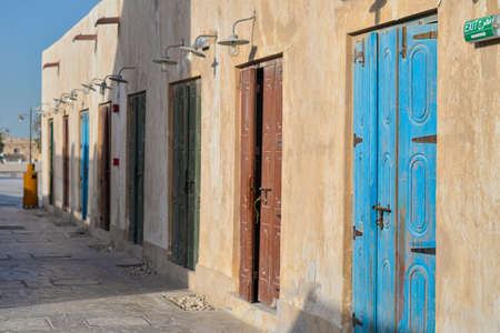 Doors of various colours taken in the afternoon in Souk Wakrah, Qatar