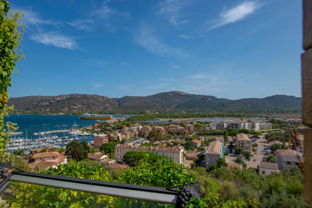 Porto-Vecchio, Corsica, France - Sep 20, 2019: A view on the port from the edge of Porto-Vecchio old town. Taken during a summer afternoon.