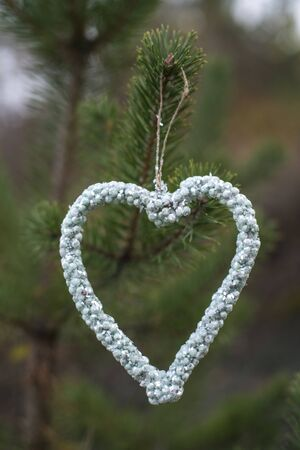 Heart shape on tree. Heart of crystals on branch