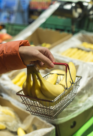 Fruits in supermarket. Buying bananas in shop. Small basket.
