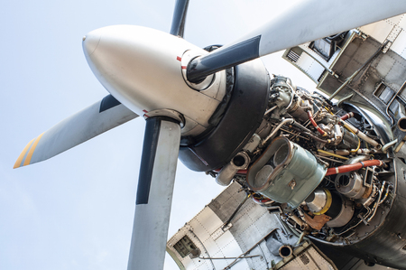 Engine and propeller of a military plane. Disassemble and repair engine of plane. Engine design of a military aircraft.