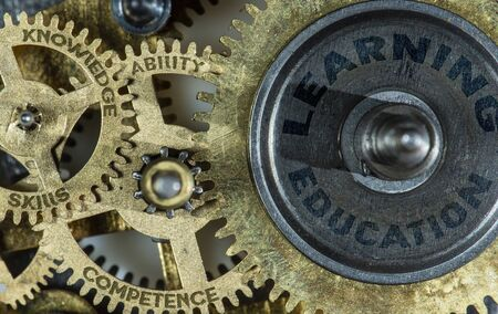Gears of mechanism with texts on them - knowledge, competence, skills, learning, education