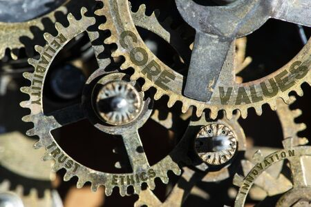 Gears of mechanism with texts on them - core, values, trust, ethics Stock fotó