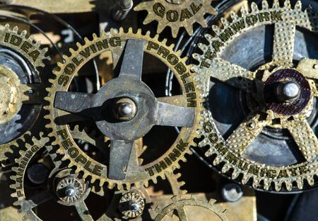 Gears of mechanism with texts on them - people, problem, solving, teamwork, idea Zdjęcie Seryjne