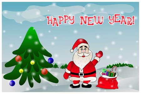 new year celebration: greeting new year celebration card with Santa