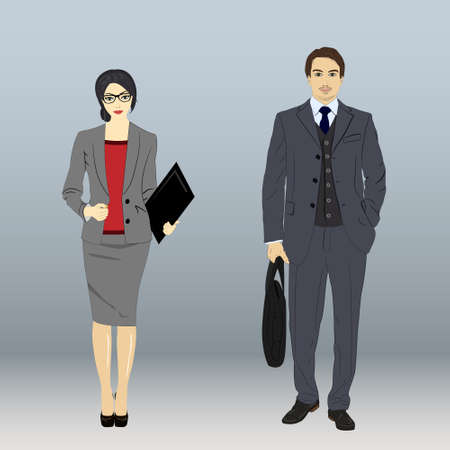 isolate business man and business woman